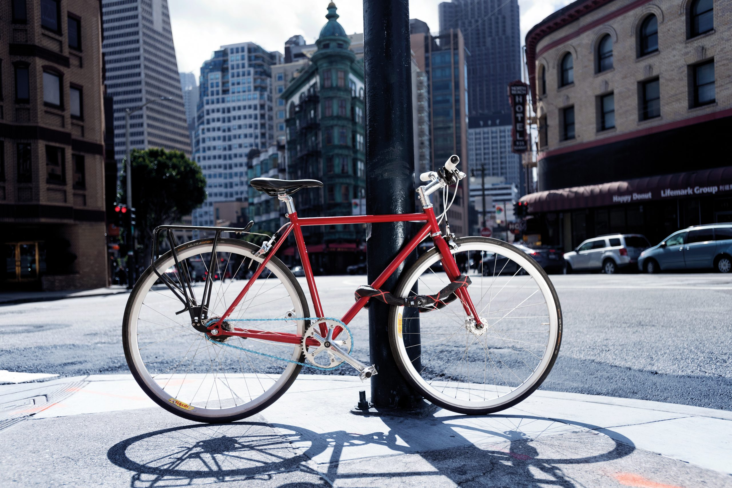 rower zabezpieczony przed kradzieżą