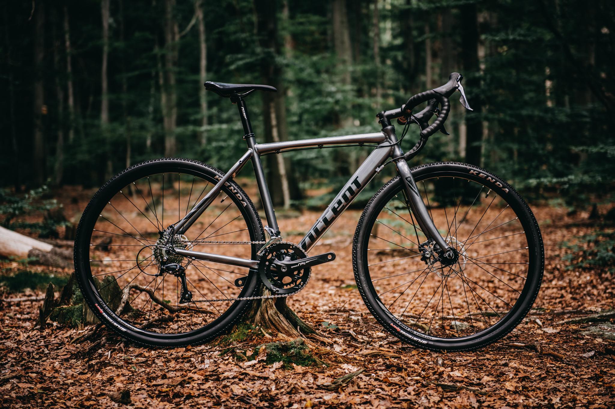 rower gravelowy accent falcon w leśnej scenerii